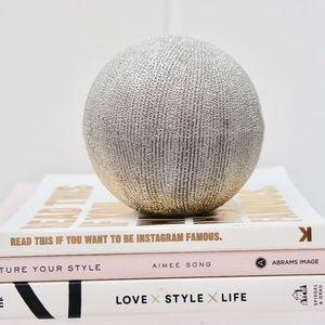 Textured Silver Decor Circular Paper Weight Ball